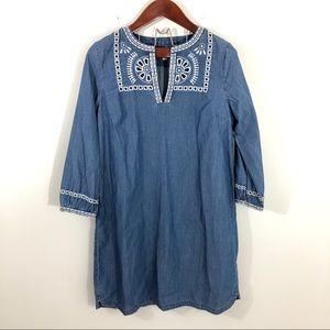 LOFT Dresses - Loft Chambray Embroidered Long Sleeve Shift Dress